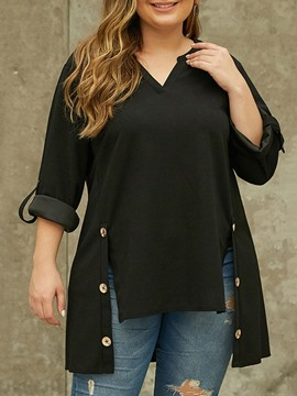 Ericdress Plus Size Plain Regular V-Neck Mid-Length Three-Quarter Sleeve Women's Blouse