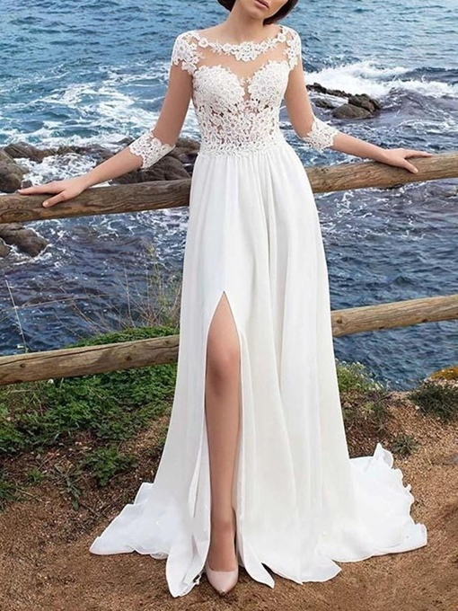 Ericdress Lace Bateau Court A-Line Wedding Dress 2020
