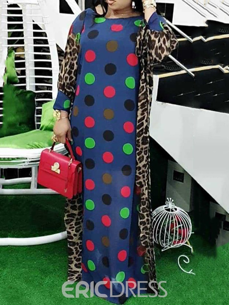 Ericdress Print Floor-Length Round Neck Straight Polka Dots Dress