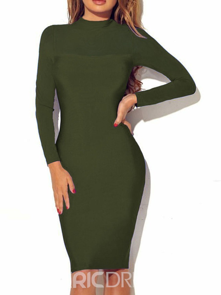 Ericdress Long Sleeve Above Knee Stand Collar Casual Pullover Dress