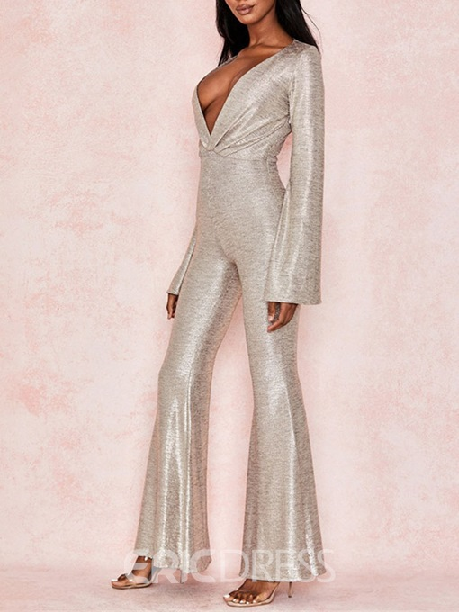 Ericdress Plain Sexy Bellbottoms Slim Jumpsuit