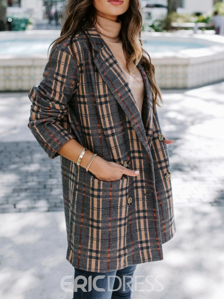 Ericdress Double-Breasted Loose Pocket Mid-Length Women's Overcoat