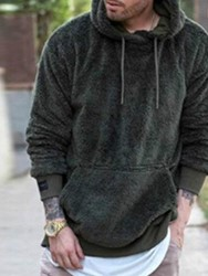 Ericdress Plain Thick Pocket Style Mens Hoodies
