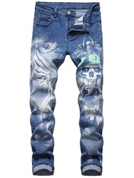 Ericdress Print Pencil Skull Casual Mid Waist Mens Jeans фото