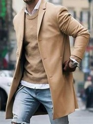 ericdress / Ericdress Notched Lapel Mid-Length Plain Single-Breasted Mens Coat