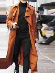 Ericdress Long Style Button Plain Loose European Mens Trench Coat фото