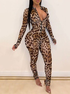 Ericdress Leopard Casual Full Length Skinny Jumpsuit