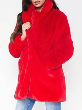 Ericdress Plain Mid-Length Regular Loose Thick Women's Faux Fur Overcoat
