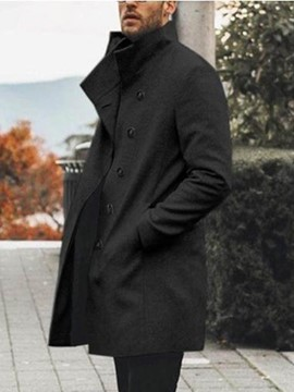 Ericdress Plain Button Mid-Length Style European Men's Coat