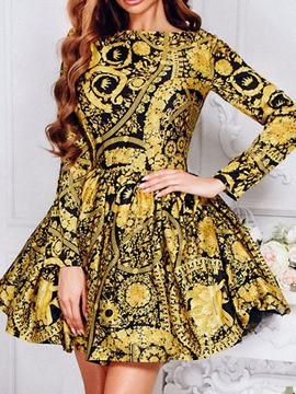 Ericdress Long Sleeve Round Neck Print Pullover Spring Dress