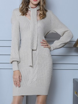 Ericdress Above Knee V-Neck Long Sleeve Date Night/Going Out Mid Waist Dress