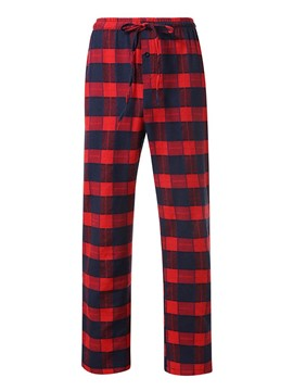Ericdress Plaid Straight Lace-Up Men's Casual Pants