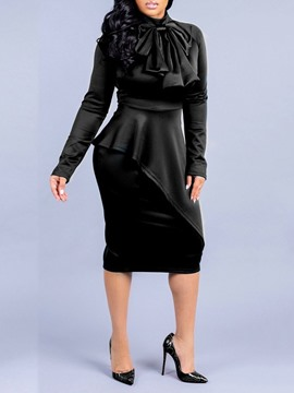 Ericdress Mid-Calf Bowknot Long Sleeve Sweet Plain Dress