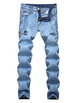Ericdress Pencil Hole Plain Mid Waist Men's Casual Jeans