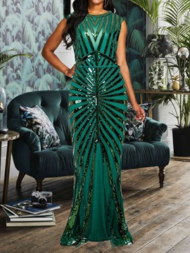 Ericdress Sequins Floor-Length Sleeveless Bodycon Pullover Dress