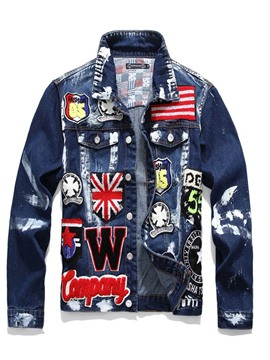 Ericdress Letter Appliques Lapel European Men's Jacket