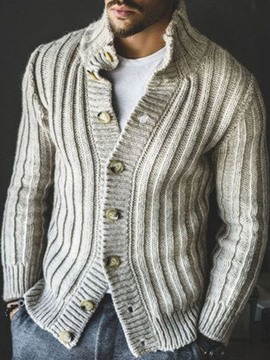 Ericdress Standard Plain Color Turtleneck Single-Breasted Style Men's Sweater