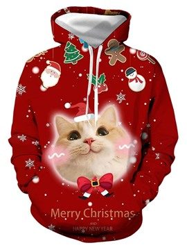 Ericdress Printed Pullover Animal Loose Christmas Men's Hoodies