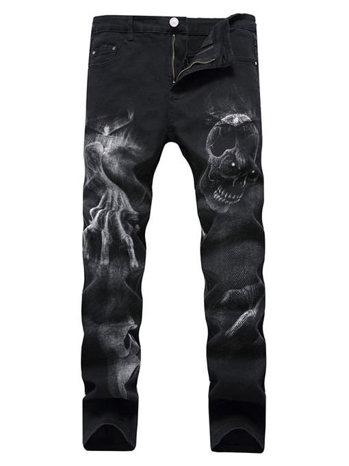 Ericdress Skull Pencil Printed Mid Waist Men's Casual Jeans