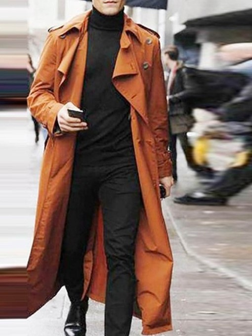 Ericdress Long Style Button Plain Loose European Men's Trench Coat