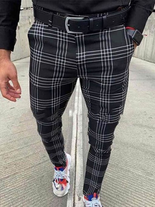 Ericdress Pocket Pencil Plaid Zipper Mid Waist Men's Casual Pants