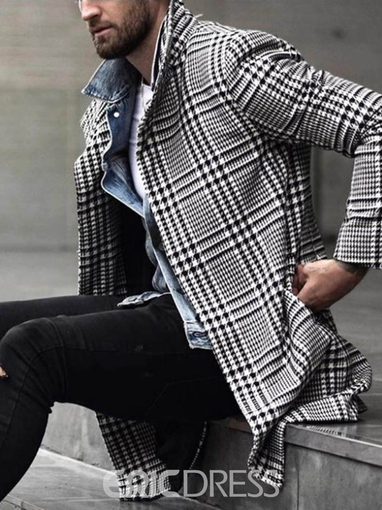 Ericdress Mid-Length Style Button Lapel A Line Single-Breasted Men's Coat