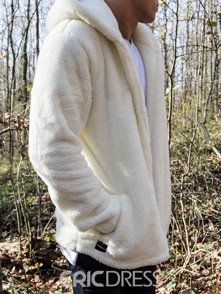 Ericdress Plain Color Cardigan Pocket Hooded Style Men's Casual Hoodies