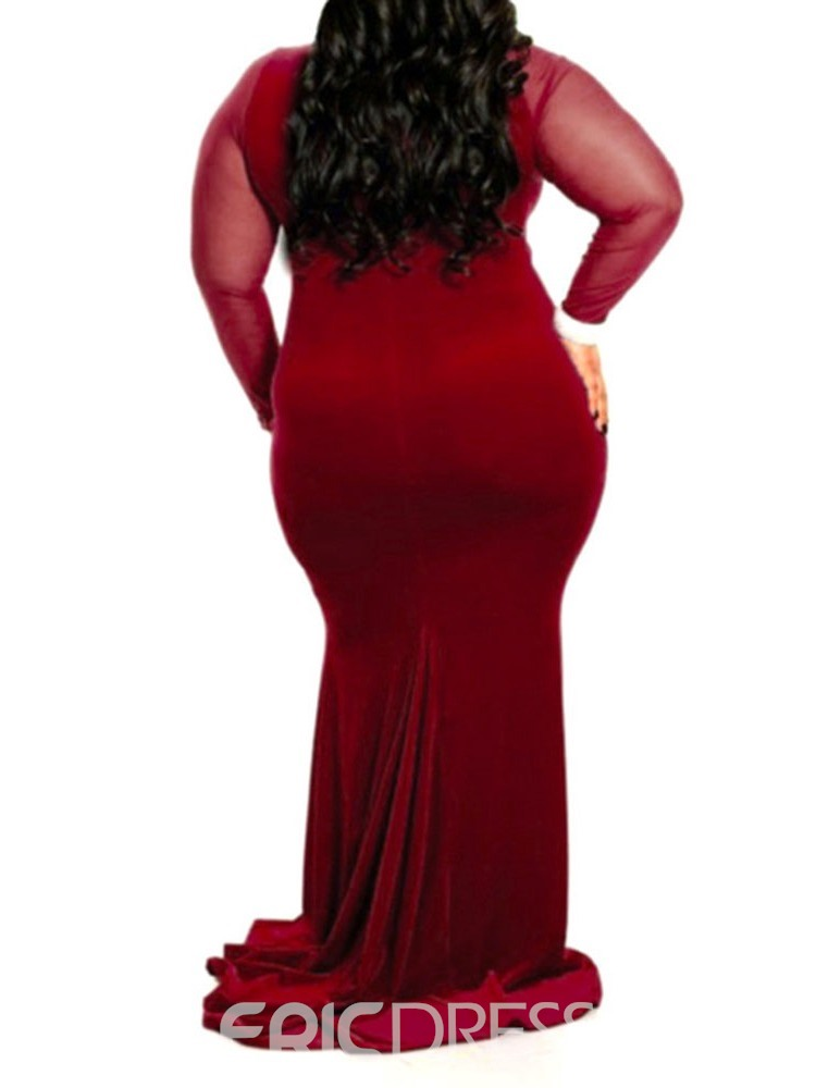 Ericdress Plus Size Long Sleeve Round Neck Mesh High Waist Party/Cocktail Dress
