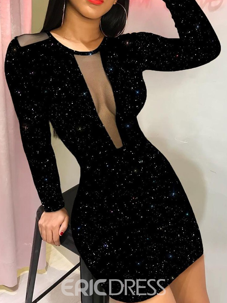 Ericdress Round Neck Long Sleeve Patchwork Bodycon Sexy Dress