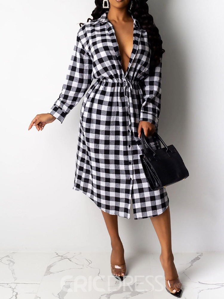 Ericdress Mid-Calf Lapel Lace-Up Date Night/Going Out Spring Dress