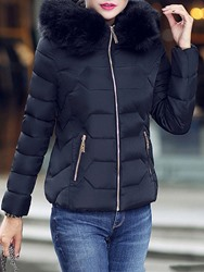 Ericdress Slim Thick Standard Fur Collar Womens Cotton Padded Jacket