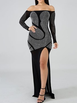 Ericdress Off Shoulder Floor-Length Long Sleeve Sexy Regular Dress