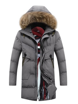 Ericdress Patchwork Mid-Length Hooded Zipper European Men's Down Jacket