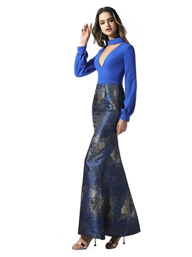 Ericdress Print Long Sleeves Mermaid Evening Dress 2020