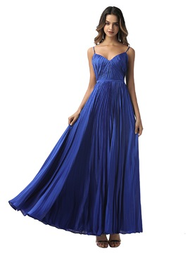 Ericdress Spaghetti Straps A-Line Pleats Sleeveless Prom Dress 2020