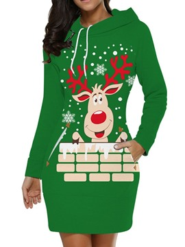 Ericdress Christmas Print Long Sleeve Hooded Pullover Regular Dress