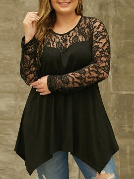 Ericdress Plus Size Patchwork Round Neck Mid-Length Long Sleeve Women's Blouse