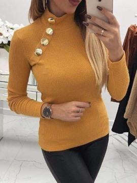 Ericdress Regular Button Slim Women's Tight Sweater