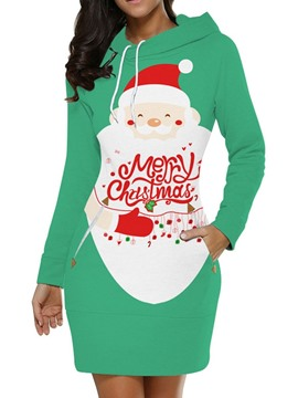 Ericdress Christmas Hooded Print Above Knee Pullover Regular Dress