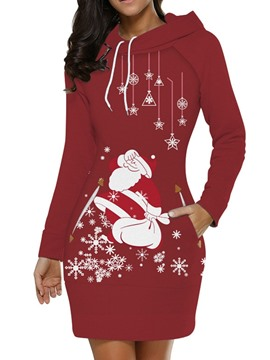 Ericdress Christmas Print Above Knee Long Sleeve Winter A-Line Dress