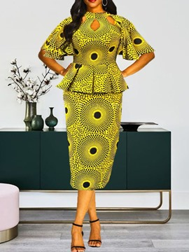 Ericdress Print African Fashion Dashiki Geometric Two Piece Sets