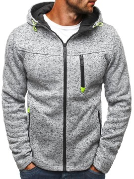 Ericdress Cardigan Color Block Zipper Casual Men's Hoodies