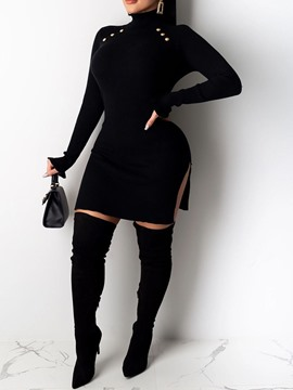 Ericdress Long Sleeve Split Above Knee Plain A-Line Dress