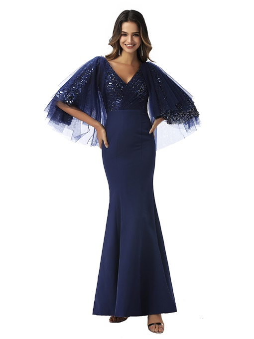 Ericdress Mermaid V-Neck Half Sleeves Evening Dress