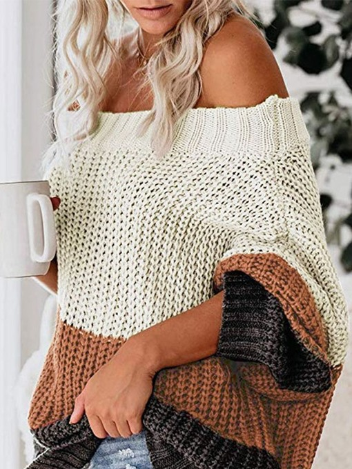 Ericdress Color Block Off The Shoulder Sweater