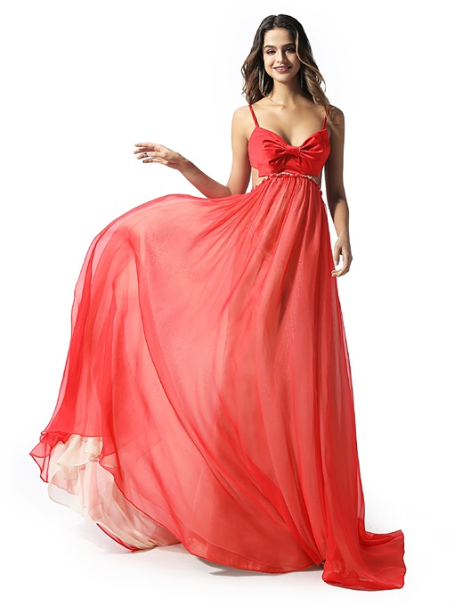 Ericdress Spaghetti Straps Bowknot Prom Dress