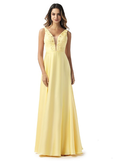 Ericdress Appliques V-Neck A-Line Prom Dress