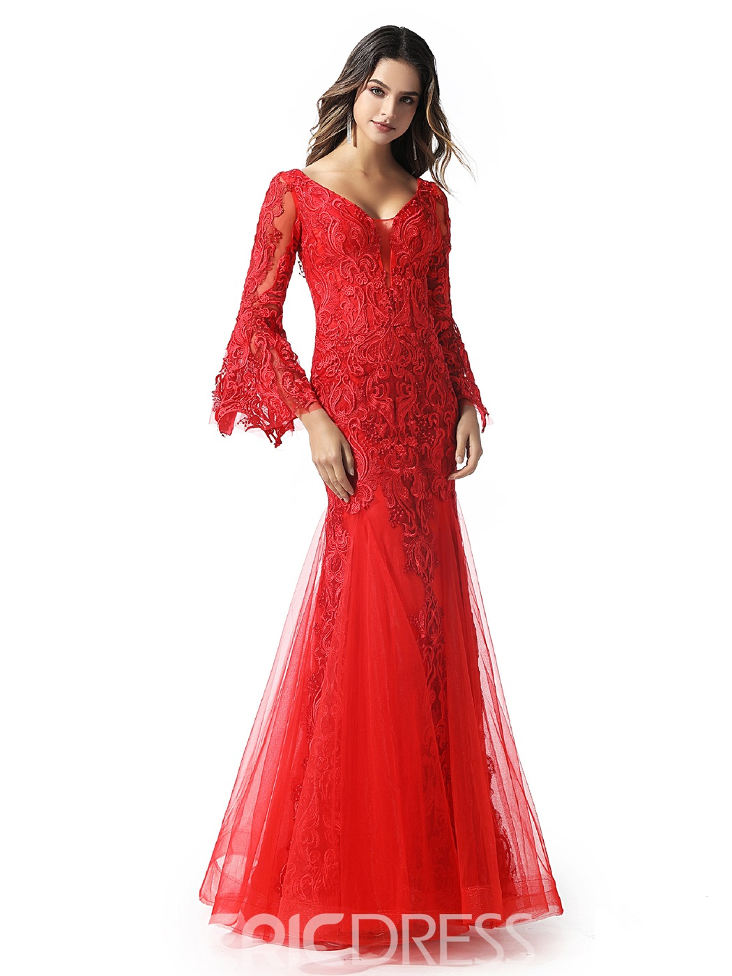 Ericdress Lace V-Neck Mermaid Evening Dress 2020