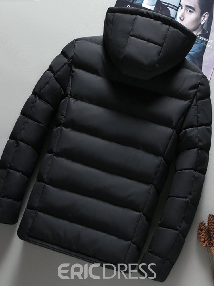 Ericdress Hooded Patchwork Standard Zipper Men's Down Jacket
