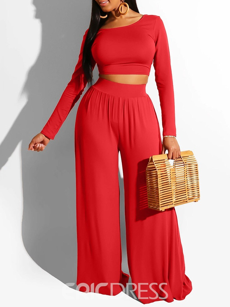 Ericdress Plain T-Shirt Pullover Wide Legs Two Piece Sets